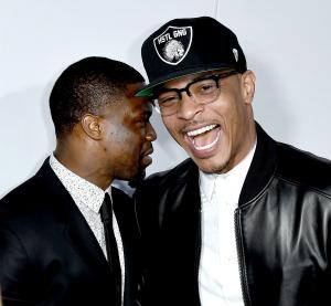Kevin Hart and T.I. at 'Get Hard' premiere