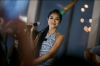 Jhene Aiko at the launch of Neff Headwear Soul of Summer collection