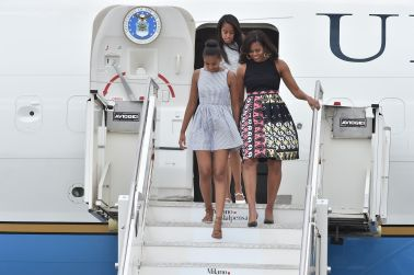 First Lady Michelle Obama Arrives At Malpensa Airport
