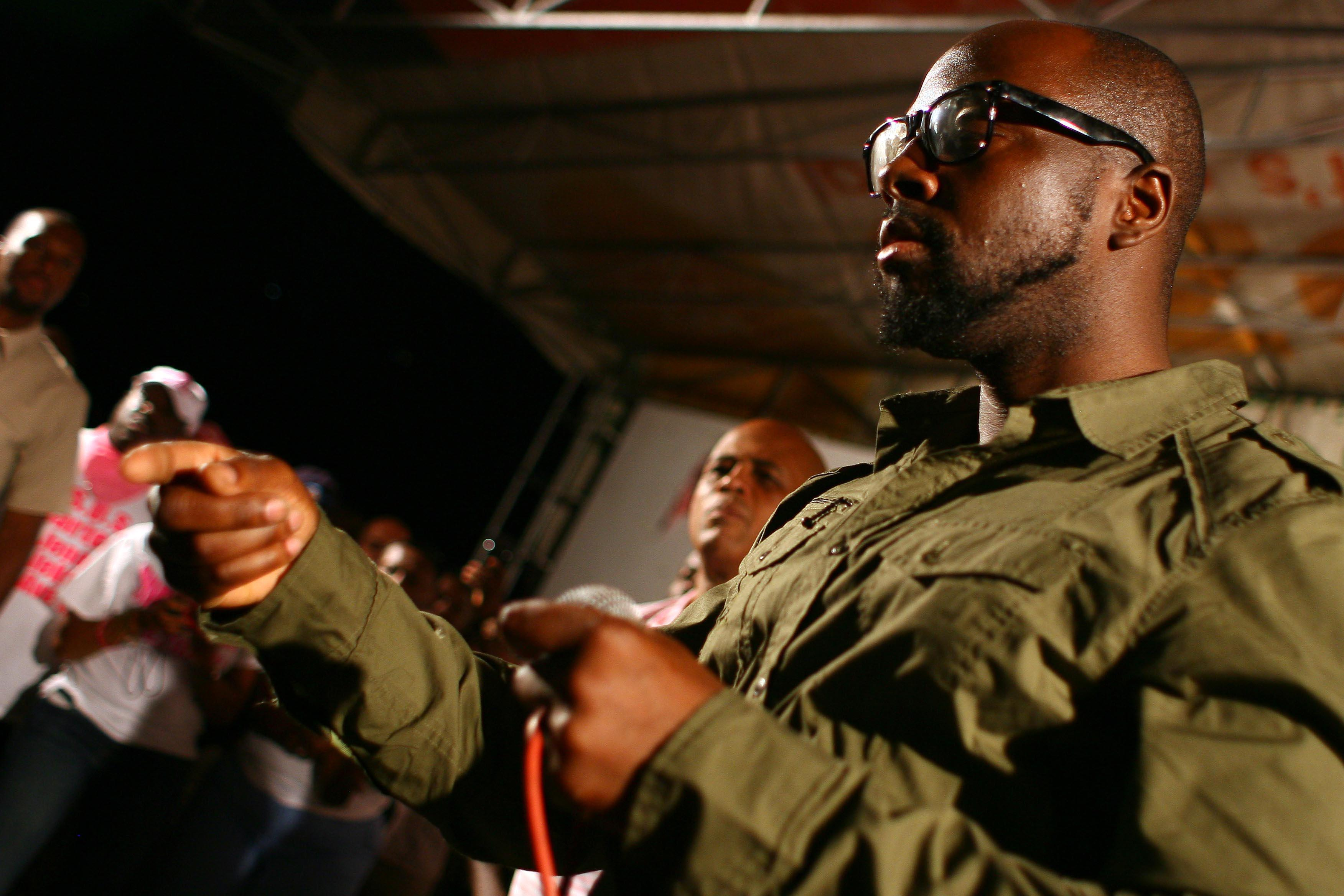 Singer Wyclef Jean attends a rally in s