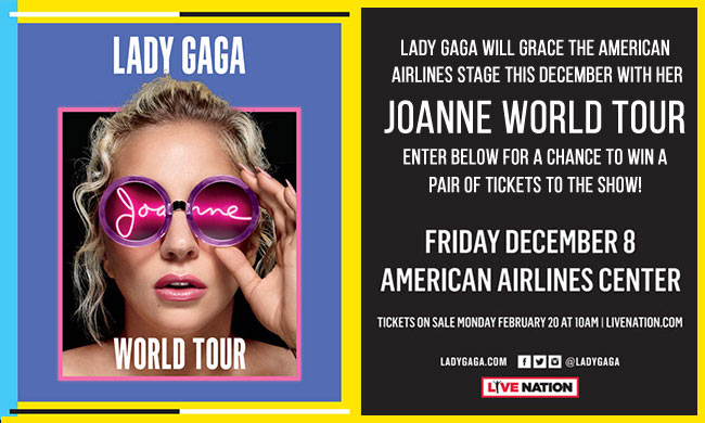 Lady Gaga Joanne World Tour Ticket Giveaway