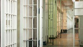 View of empty corridor in prison
