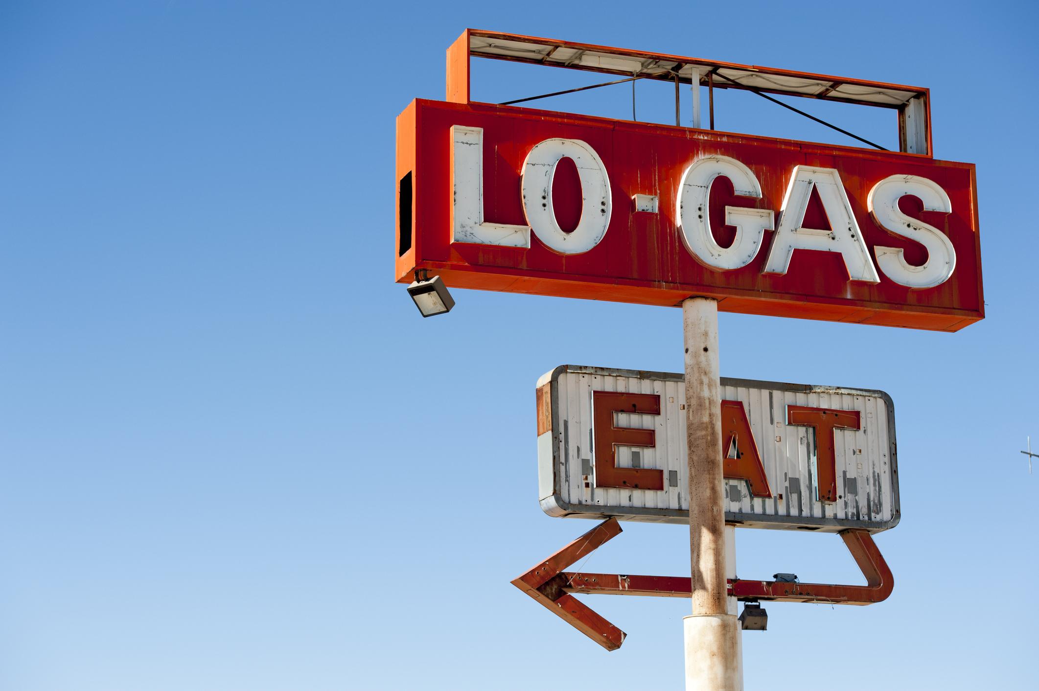 Abandoned gas station sign at Halloran Springs, San Bernardino county, California, USA