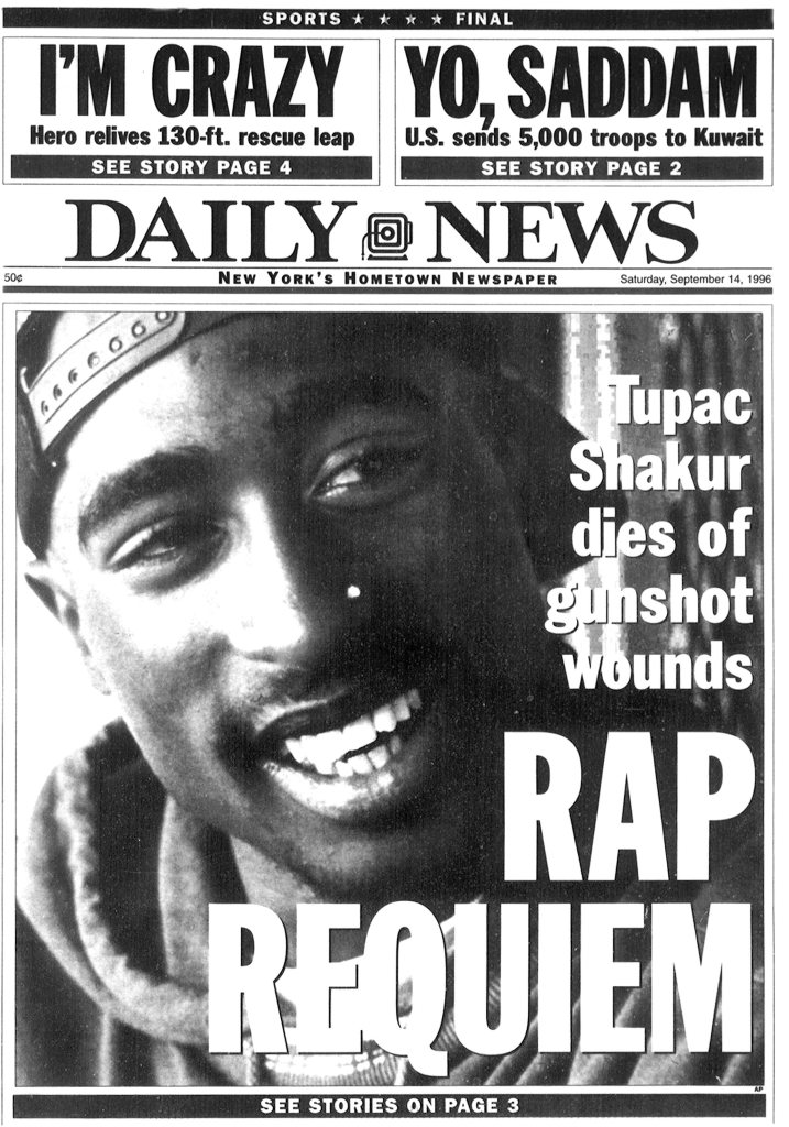 Daily News front page headline Sept. 14, 1996, Tupac Shakur