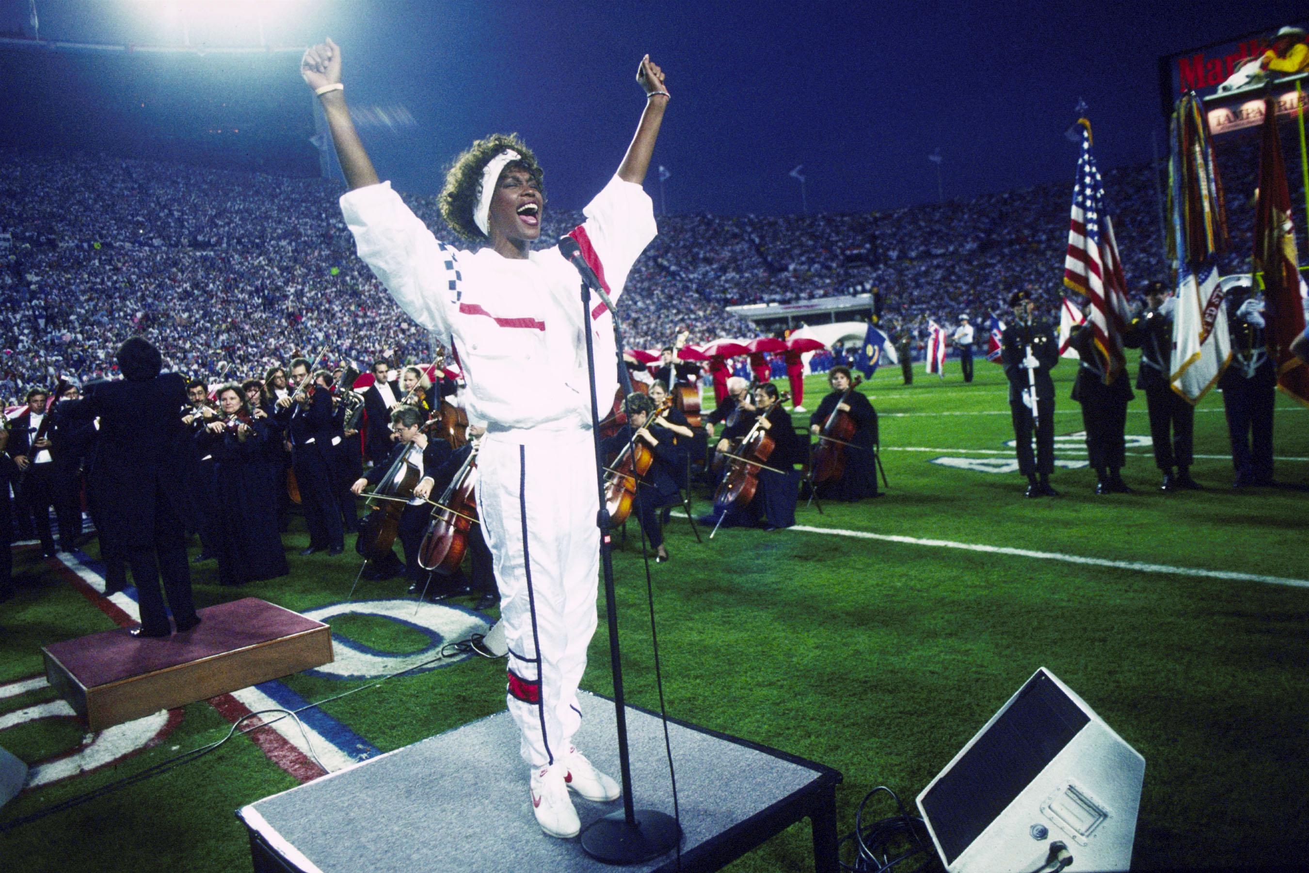 Whitney Houston Sings National Anthem At Super Bowl XXV