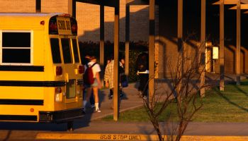 Students Arriving at School by School Bus