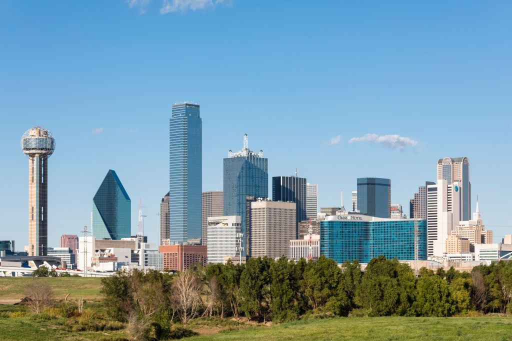 USA, Texas, Dallas, skyline with Reunion Tower