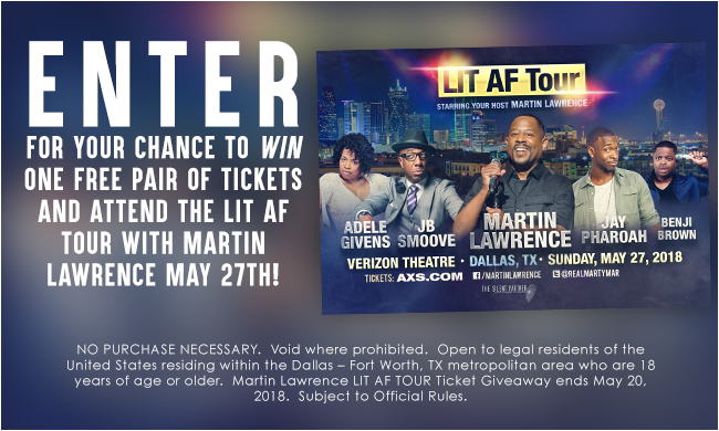 Martin Lawrence LIT AF Tour Ticket Giveaway Sweepstakes