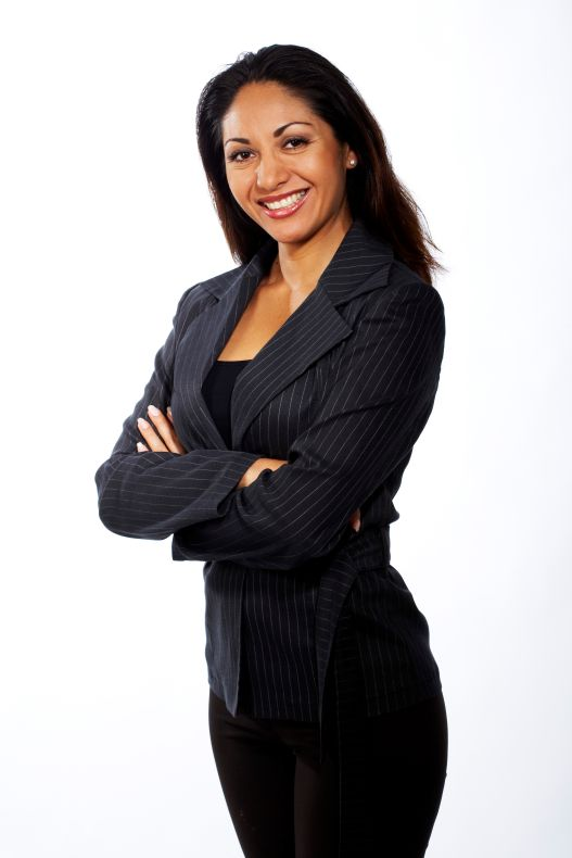 Woman in Business Clothes in Studio, Toronto, Ontario