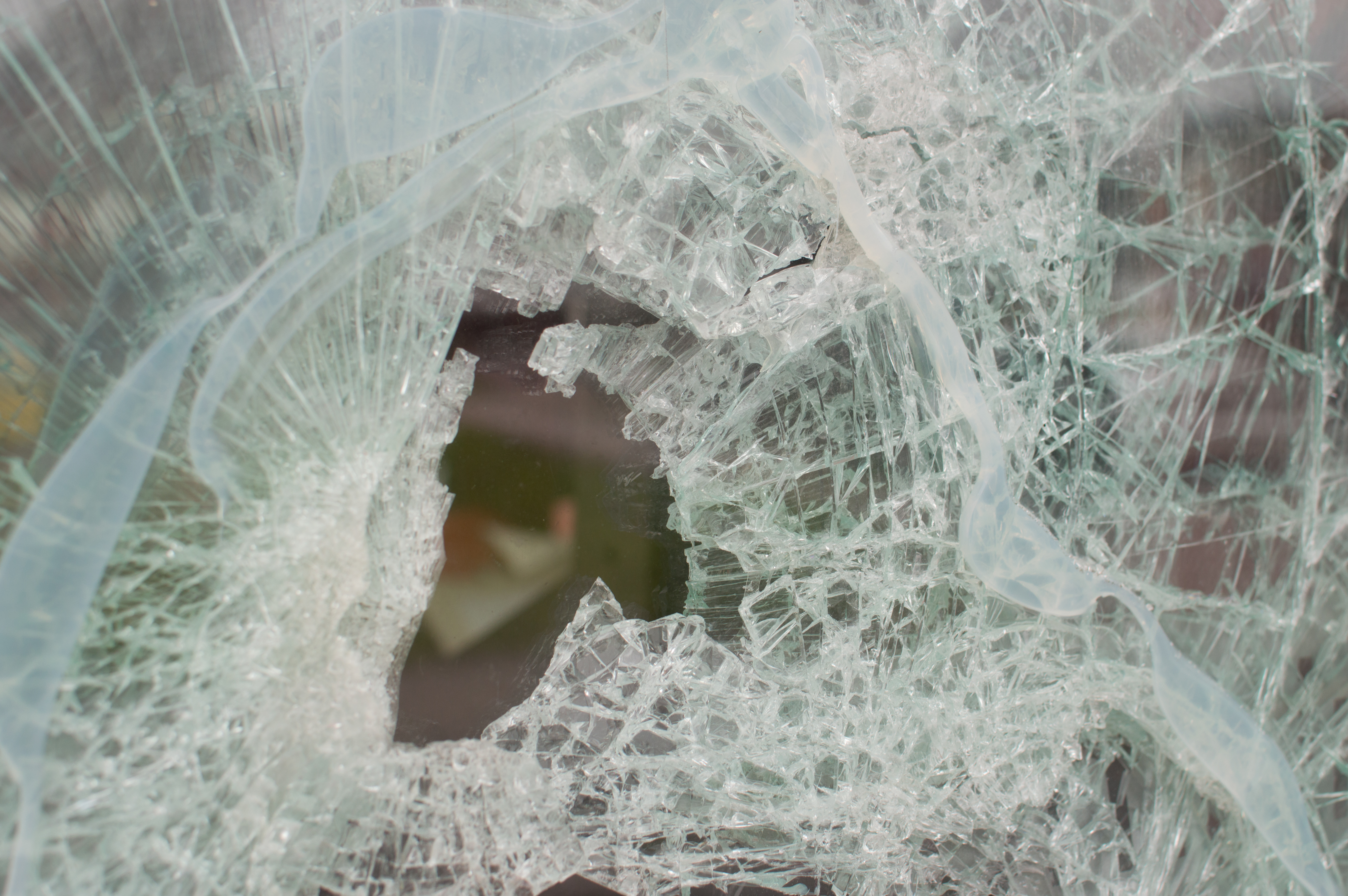 Smashed cafeteria window
