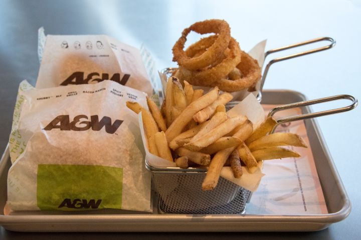 A &W or A and W food in a tray. A&W Restaurants, Inc., is a...