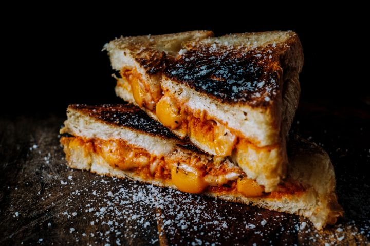 Close-Up Of Grilled Cheese Sandwich