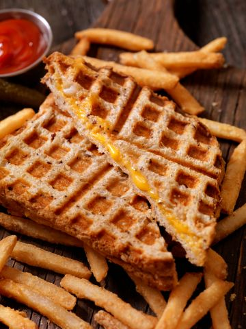 Waffle Iron Grilled Cheese Sandwich with Fries