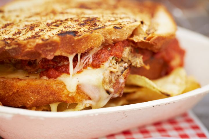 Grilled cheese and meatloaf sandwich