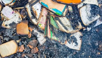 Remains of book after fire