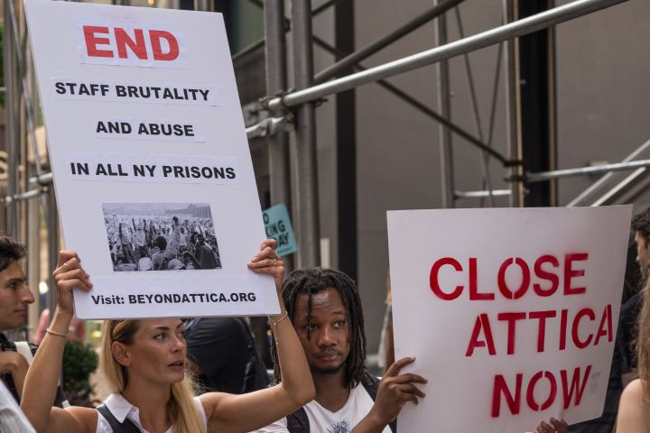 Demonstrators demanding the closure of Attica Correctional...
