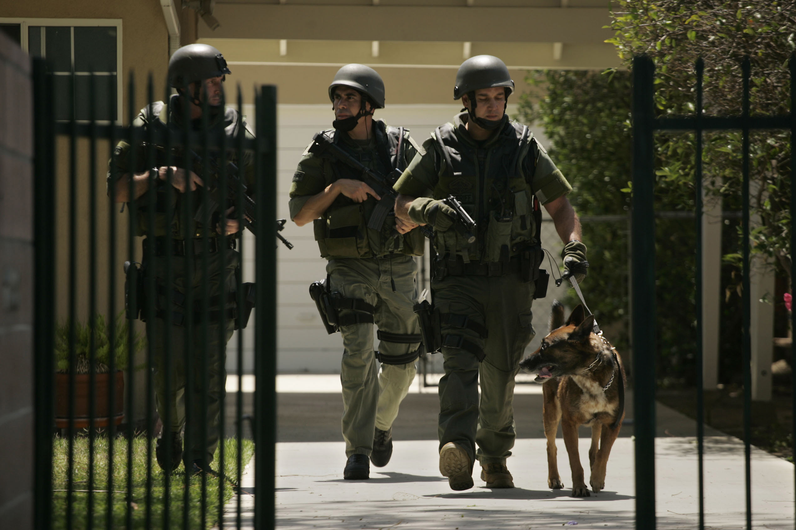 Los Angeles County Sheriff Swat Team search house–to–house on Kalisher St in Granad Hills on Friday