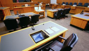 Interior of Courtroom with Computers