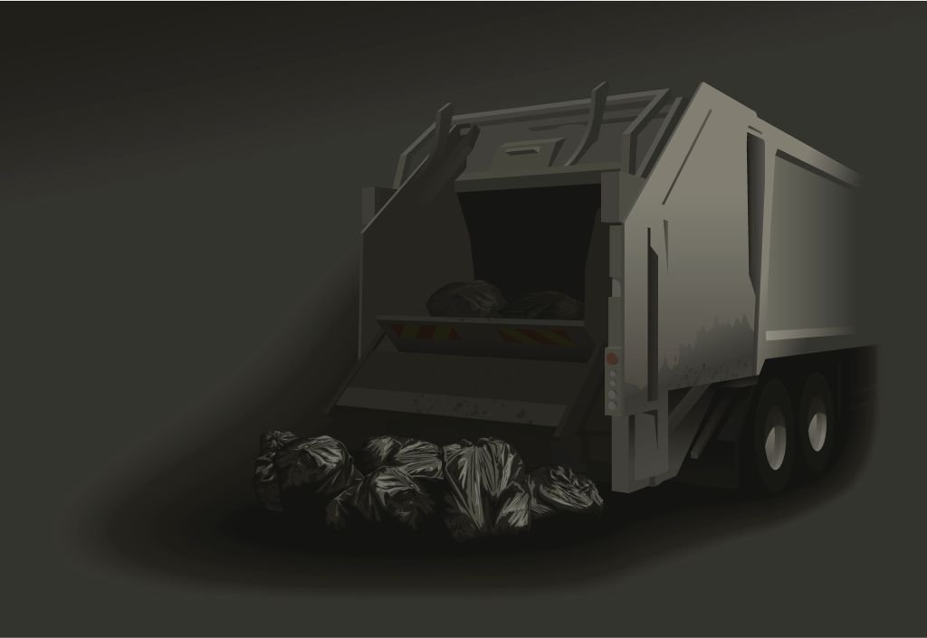 Compactor lorry and rubbish