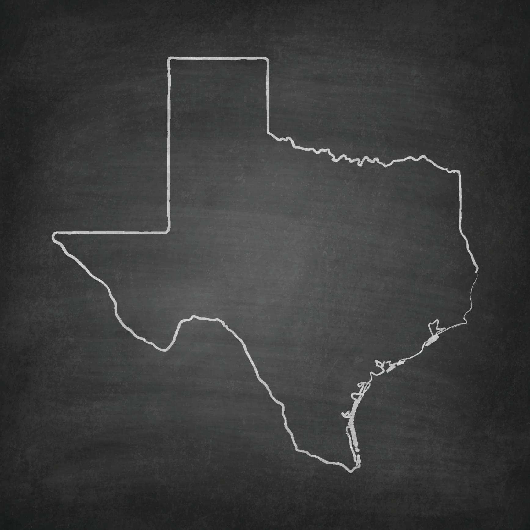 Texas Map on Blackboard - Chalkboard