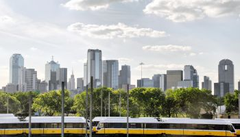 Dallas Texas Skyline DART Area Rapid Transit Train
