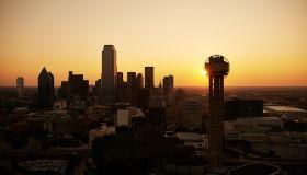 USA, Texas, Aerial photograph of the Dallas skyline at sunrise