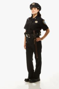 Female Police Officer on white background, portrait