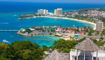 Elevated view over city & coastline, Ocho Rios, St. Ann Parish, Jamaica, Caribbean
