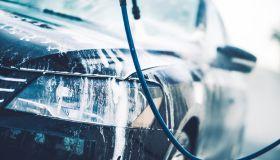 Close-Up Of Car During Car Wash