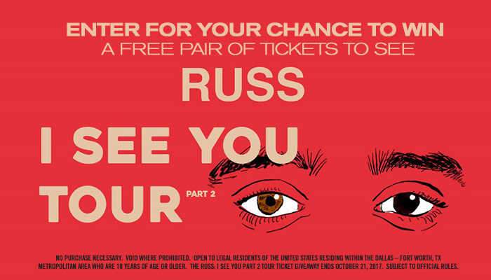 """Russ: I See You Part 2"""" Tour Ticket Giveaway Sweepstakes 