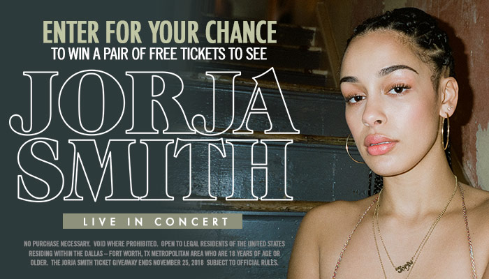 LOCAL: Jorja Smith CONTEST - DALLAS_RD_OCTOBER 2018