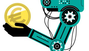 Artificial intelligence Robot (Robotic arm) carrying the euro symbol sign gold currency coin