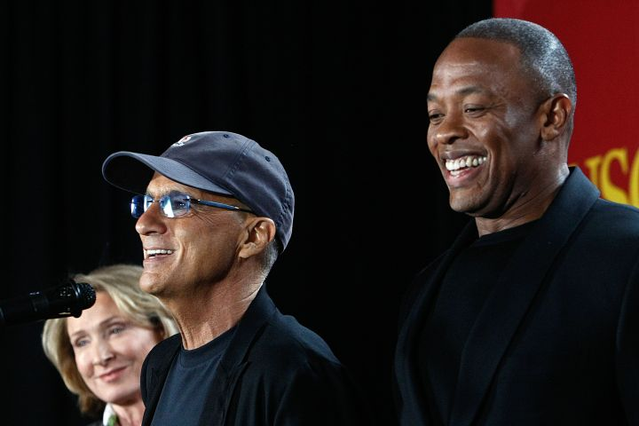 Music mogul Jimmy Iovine, left, and Rapper Dr. Dre, (given name Andre Young), are all smiles during