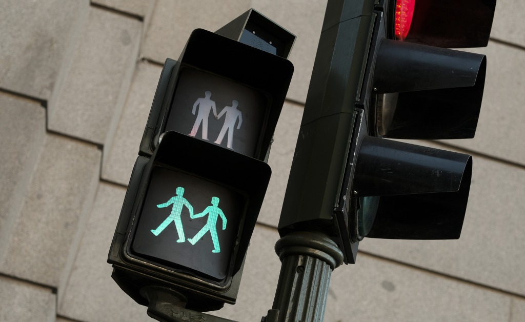 Madrid city council officials have installed pedestrian crossing lights promoting LGBTQ equality