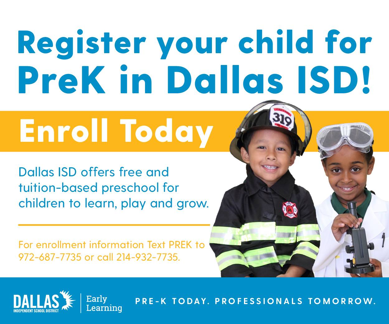 Register your child for PreK in Dallas ISD