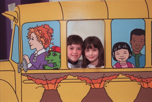 The Magic School Bus exhibit. Popping their heads into a cutout window of The Magic School Bus are (left to right) 10yearold Joe Peters and his sister, sevenyearold Celia Peters from Crystal.(Photo by JOEY MCLEISTER/Star Tribune via Getty Images)