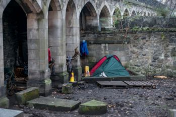 Homelessness, Tent at a bridge, Edinburgh, Scotland, United Kingdom
