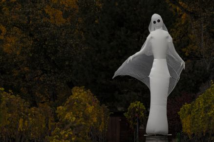 Scary Halloween Ghost Decoration in a Vineyard