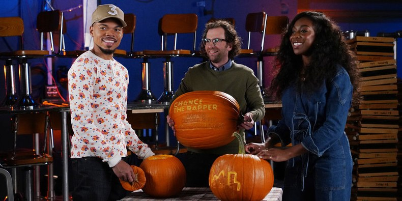 Chance the Rapper, Kyle Mooney, and Ego Nwodim, October 2019 (Rosalind O'Connor/NBC)