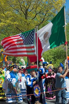 The Cinco De Mayo Parade on Central Park West in Manhattan, New York City on May 5, 2013