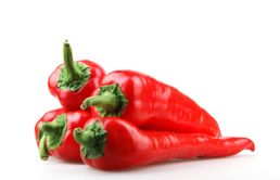 Image Of Red Chilli Peppers On White